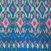 Toile coton qualité supérieure bleu motif ethni-color