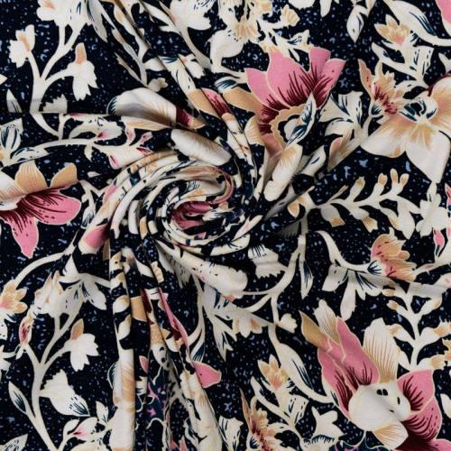 Tissu viscose stretch bleu marine motif orchidée chair