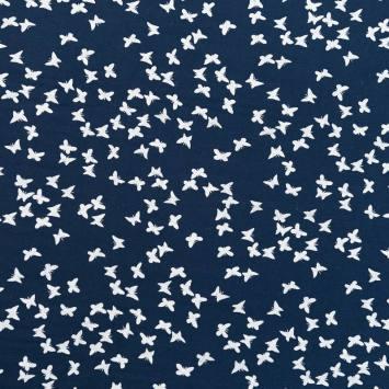 Voile de coton bleu marine motif papillon