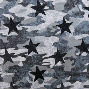 Tissu molleton french terry gris imprimé camouflage et étoiles