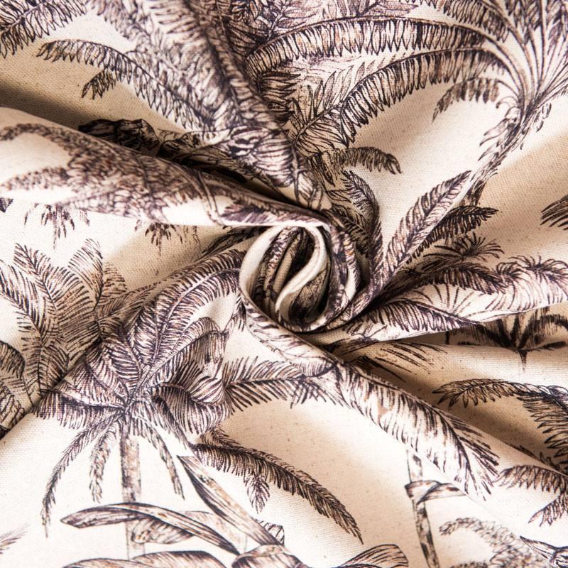 Toile coton-lin aspect lin motif palmier