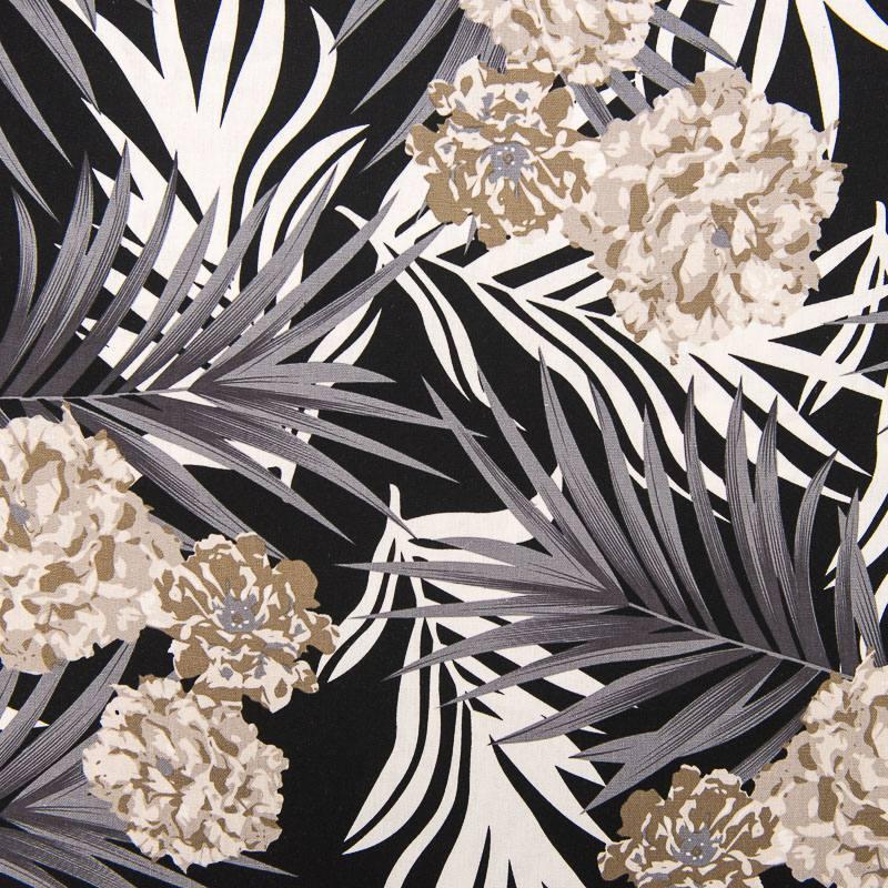 tissu viscose lin imprim feuille et hortensia. Black Bedroom Furniture Sets. Home Design Ideas