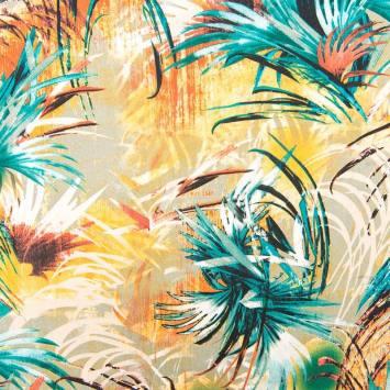 Tissu viscose lin imprimé feuille de palmier