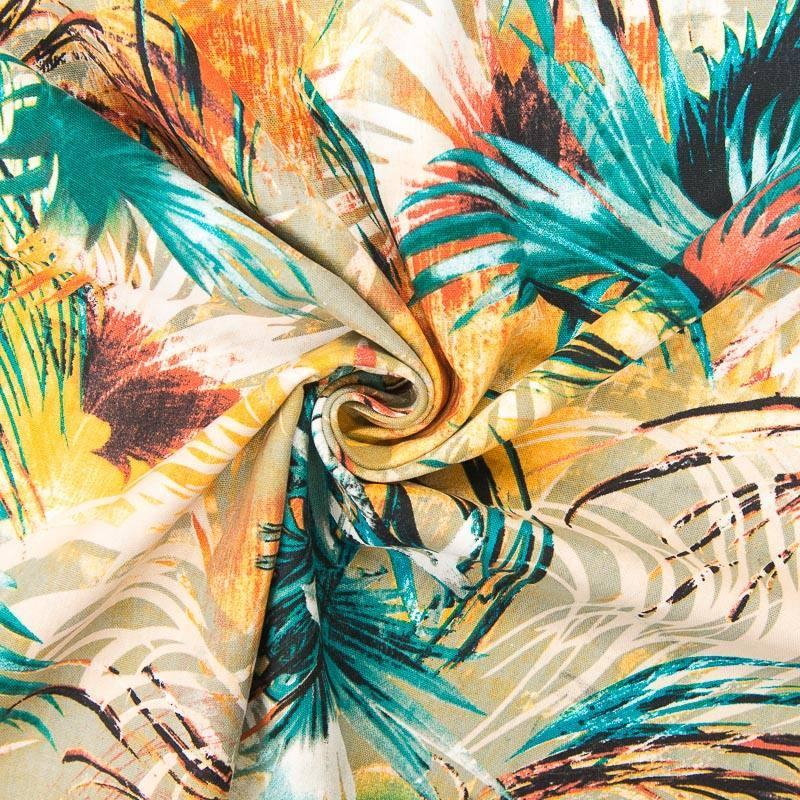 tissu viscose lin imprim feuille de palmier. Black Bedroom Furniture Sets. Home Design Ideas
