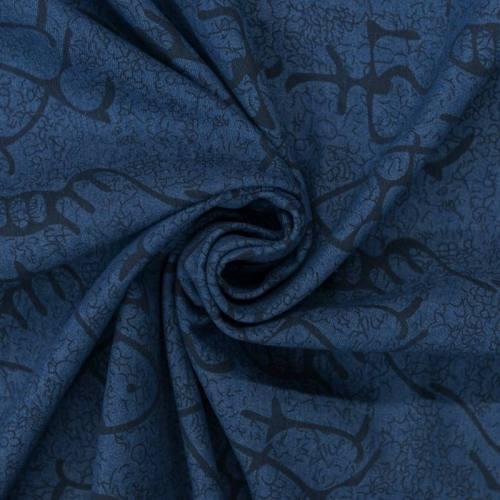Tissu jean motif poisson noir