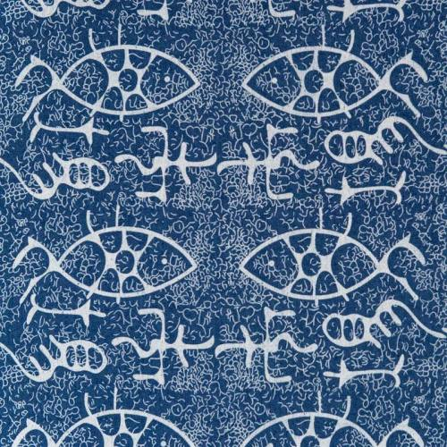 Tissu jean motif poisson blanc