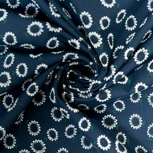 Voile de coton bleu marine motif paquerette