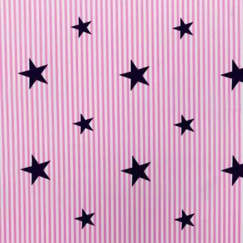 Popeline de coton rayée rose et blanche motif étoile