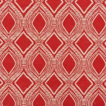 Toile polycoton aspect lin rouge motif losanges et points