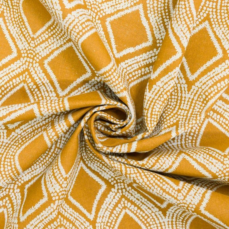 Toile polycoton aspect lin ocre motif losanges et points