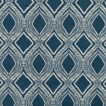 Toile polycoton aspect lin bleu foncé motif losanges et points