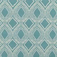 Toile polycoton aspect lin bleu clair motif losanges et points
