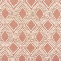 Toile polycoton aspect lin vieux rose motif losanges et points