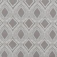 Toile polycoton aspect lin taupe motif losanges et points