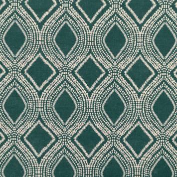 Toile polycoton aspect lin bleu canard motif losanges et points