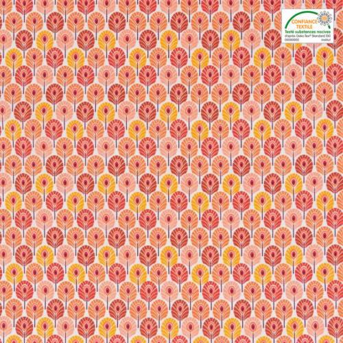 Coton orange imprimé plume de paon