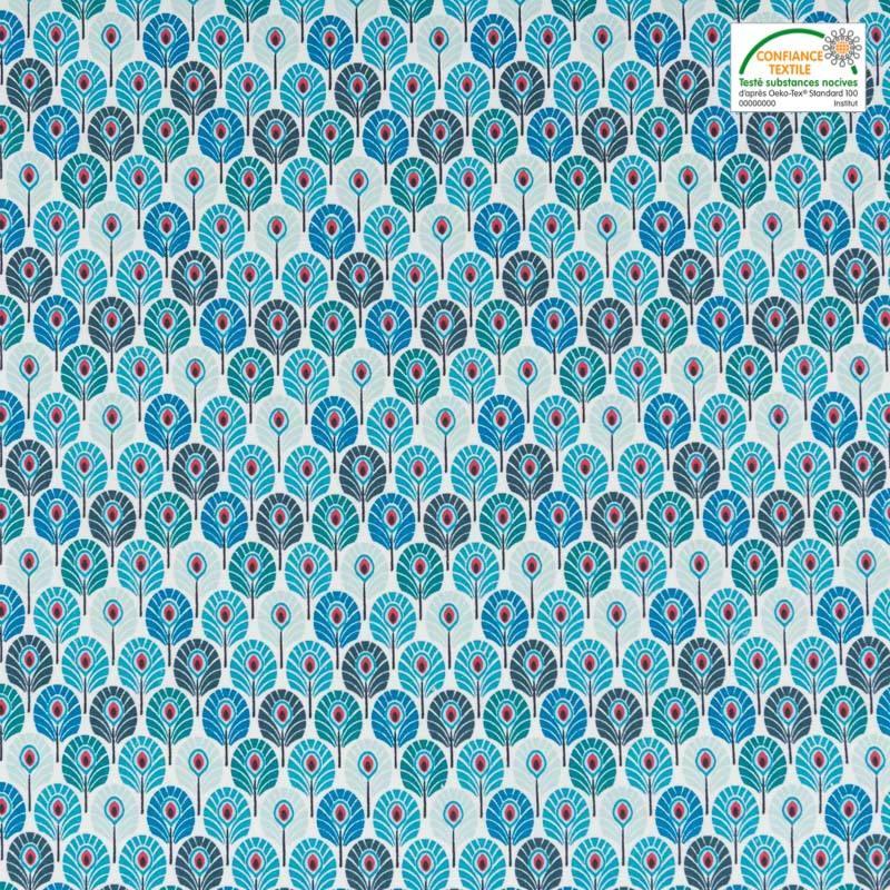 Coton turquoise imprimé plume de paon