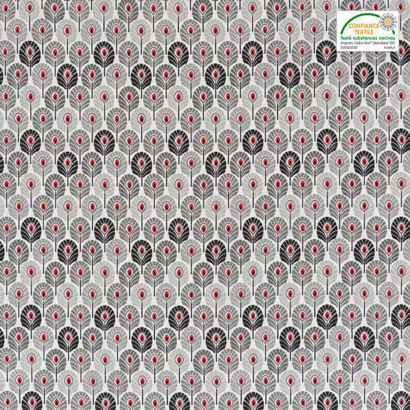 Coton gris imprimé plume de paon