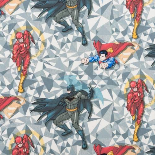 Coton gris motif supers héros