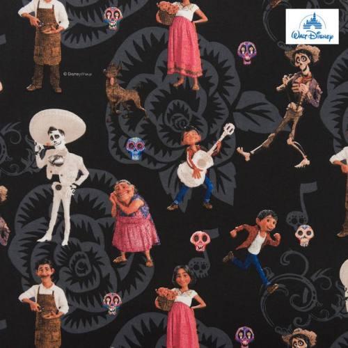 Coton Disney Pixar noir motif Coco