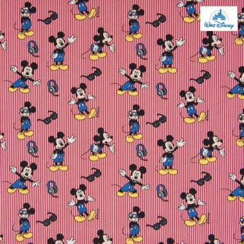 Coton Disney à rayures rouge motif Mickey