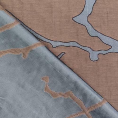 Jacquard double face marron et bleu givré motif sillage