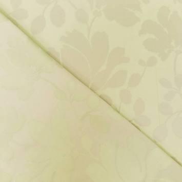 Jacquard satiné double face vert pastel motif feuillage