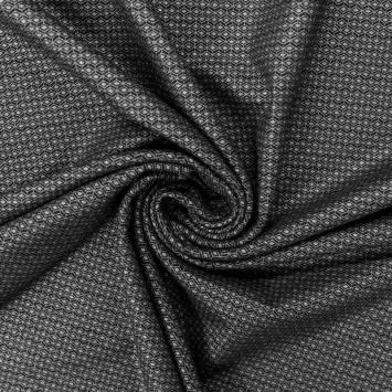 Jersey épais noir motif petit losange argenté