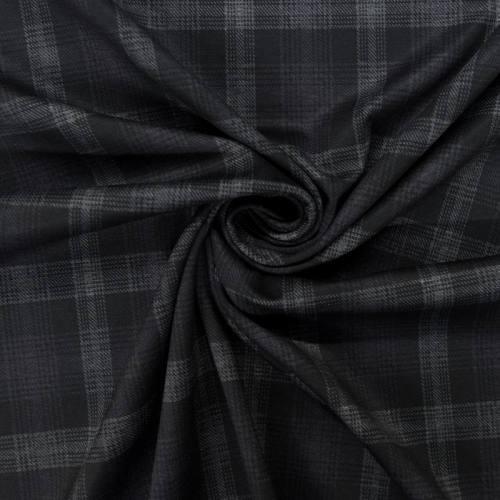 Jersey stretch noir motif tartan violet