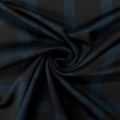 Jersey stretch noir motif carreau bleu