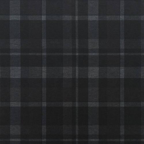 Jersey stretch noir motif tartan gris