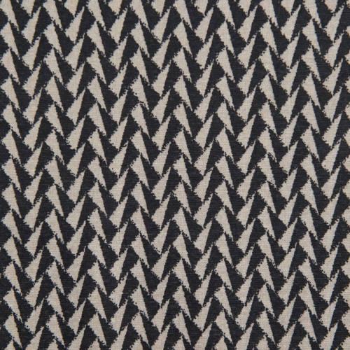 Toile polycoton grande largeur noire motif triangle beige