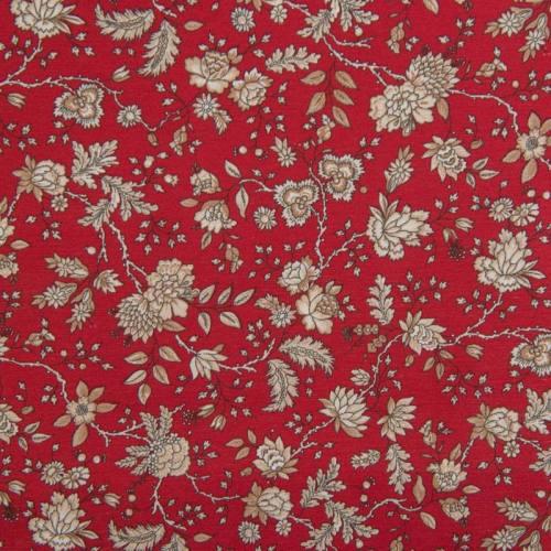 Toile polycoton grande largeur rouge motif floral beige