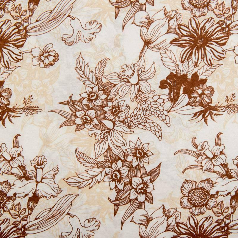 toile polycoton grande largeur blanche motif fleurs marron. Black Bedroom Furniture Sets. Home Design Ideas