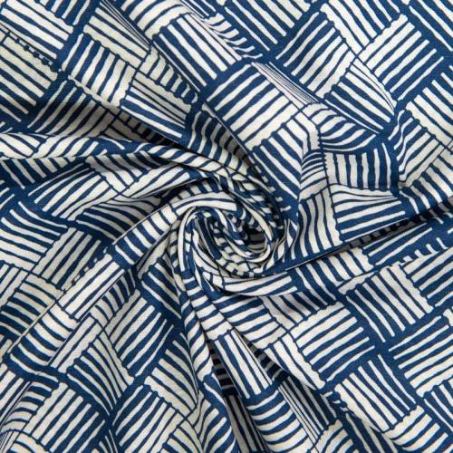 Toile polycoton grande largeur bleue motif carré ethnique