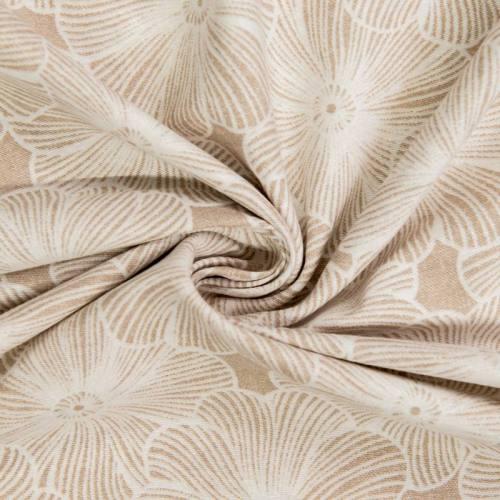Toile polycoton grande largeur beige motif fleur diva blanche