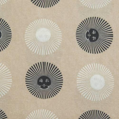 Toile polycoton grande largeur beige motif soleil noir et blanc