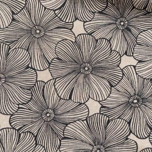 Toile polycoton grande largeur beige motif fleur diva réglisse