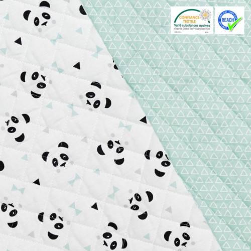 Tissu matelassé enfant réversible motif maony blanc et vert