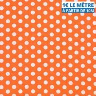 Toile polyester orange gros pois blanc