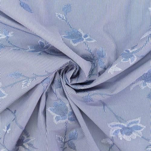 coupon - Coupon 0.8m - Coton rayé bleu et blanc à broderies fleurs bleues