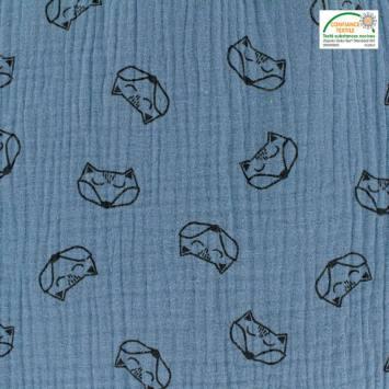 Double gaze bleu jean motif renard
