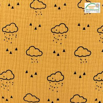 Double gaze ocre motif nuage, pluie et triangle