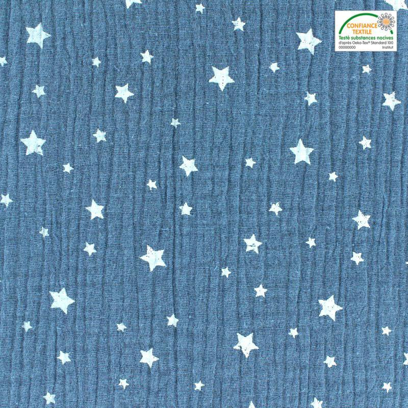 Double gaze bleu jean motif étoile blanche