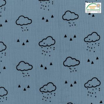 Double gaze bleu jean motif nuage, pluie et triangle