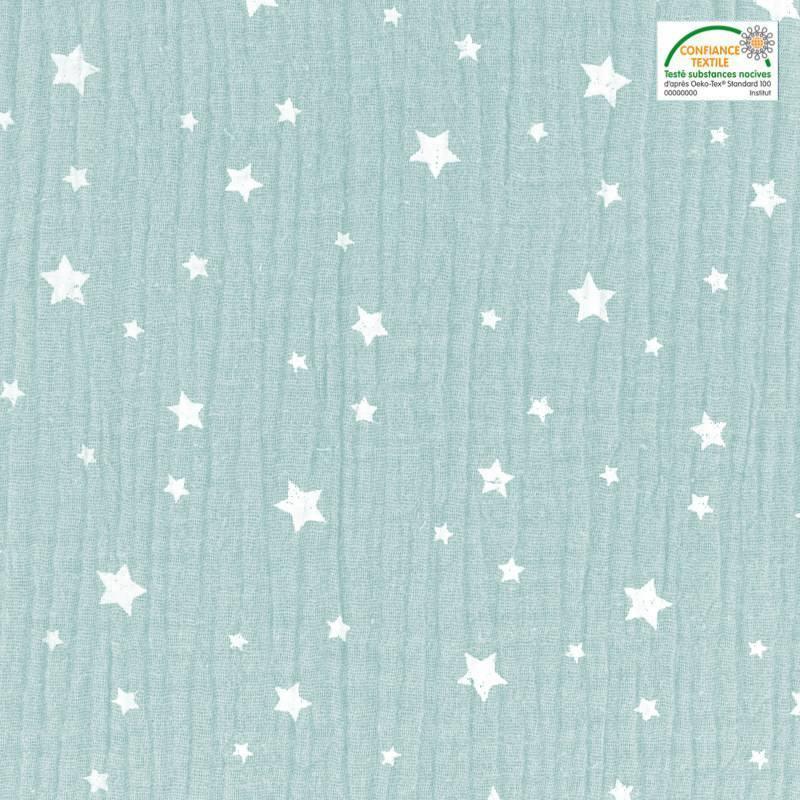 Double gaze menthe claire motif étoile blanche