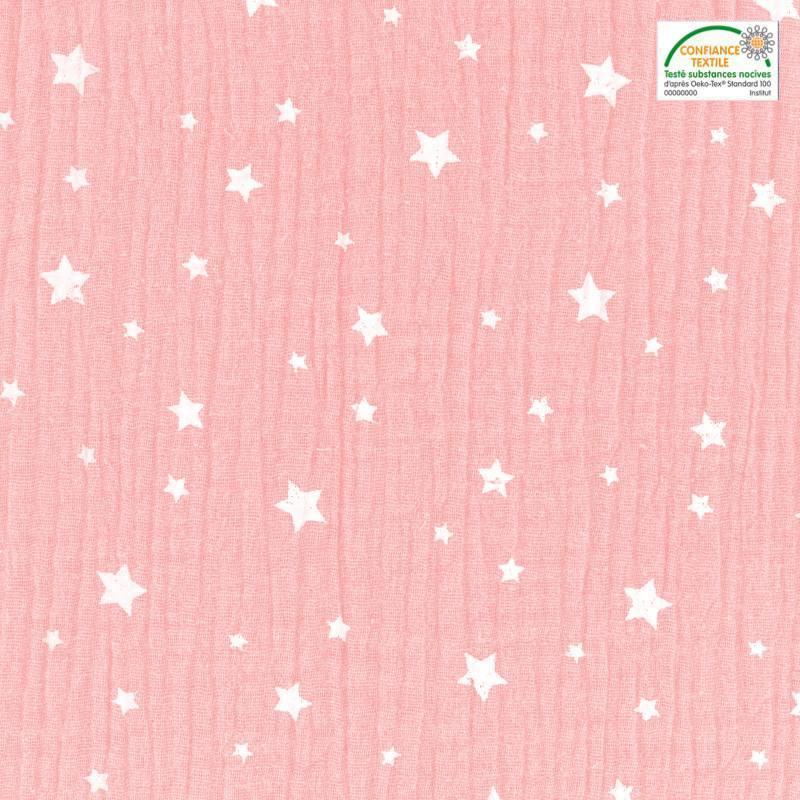 Double gaze rose motif étoile blanche