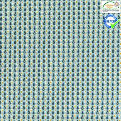 Coton bleu motif miluz bleu marine