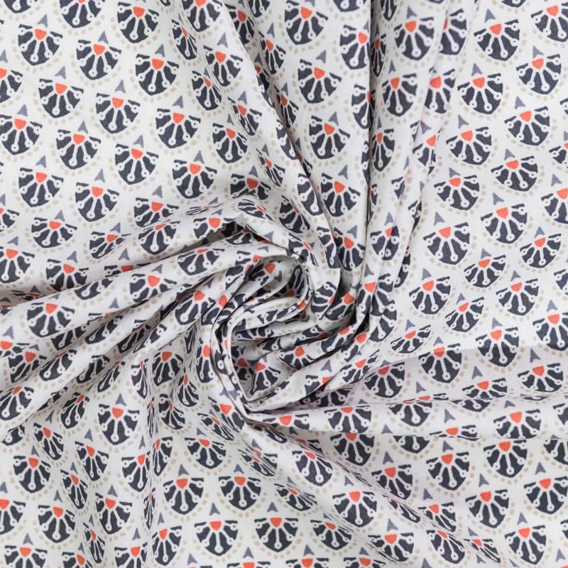 Coton blanc motif manco anthracite