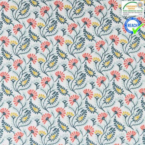 Coton blanc motif guntur vert d'eau, ocre et corail